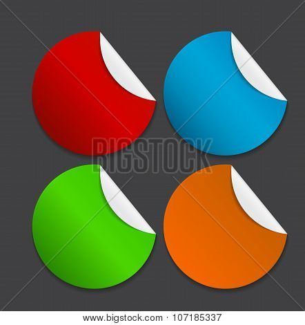 Set of  Paper Stickers Isolated on White Background.  Vector ill