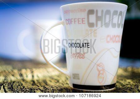 Chocolate Mug On Table Isolated