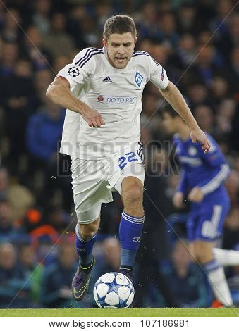 LONDON, ENGLAND - NOVEMBER 04 2015: Artem Kravets of Dynamo Kyiv during the UEFA Champions League match between Chelsea and Dynamo Kyiv at Stamford Bridge on November 04, 2015