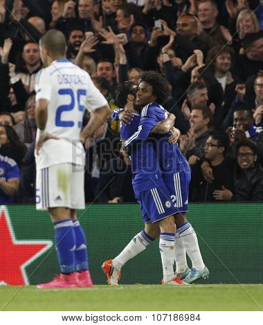 LONDON, ENGLAND - NOVEMBER 04 2015:  Willian of Chelsea celebrates scoring during the UEFA Champions League match between Chelsea and Dynamo Kyiv at Stamford Bridge on November 04, 2015