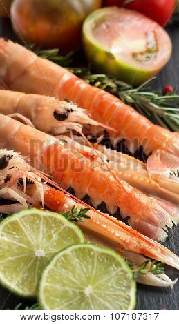 Raw Langoustines With Vegetables And Herbs