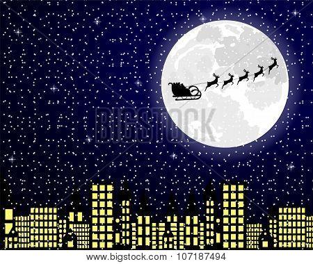 Santa Claus Flies Reindeer In Harness Over Night City