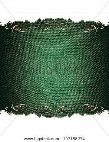 Green Nameplate For Text With Gold Border. Template For Design. Copy Space For Ad Brochure Or Announ