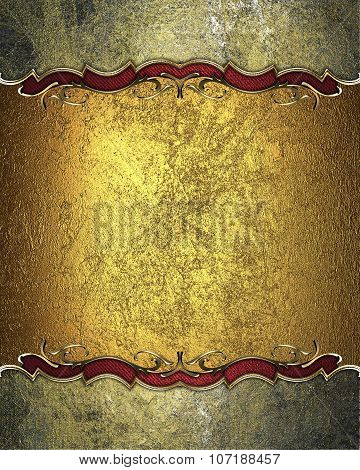 Gold Nameplate For Text With Gold Border. Template For Design. Copy Space For Ad Brochure Or Announc
