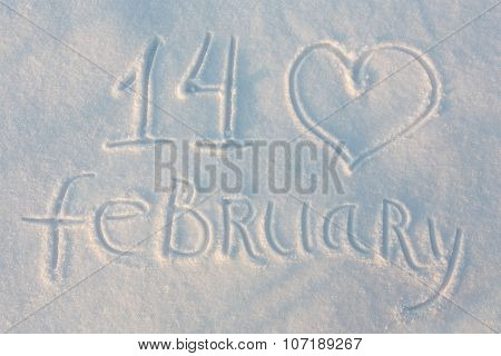 The word February 14 draw on snow