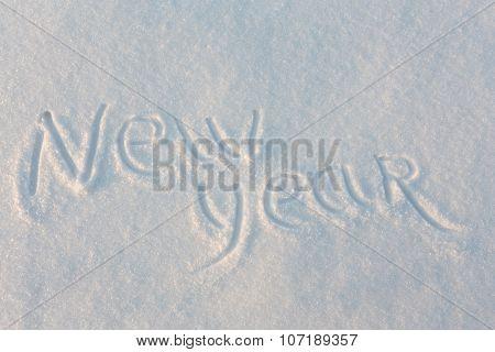 Happy New Year written on snow