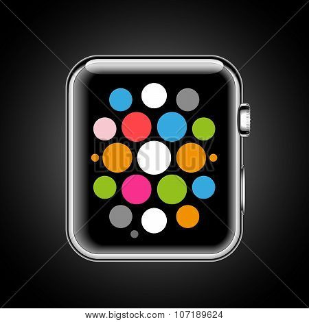 Modern shiny smart watch with applications icons isolated on black background