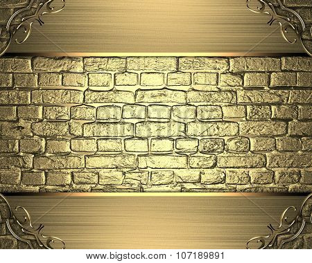 Golden Frame On A Gold Brick Background. Element For Design. Template For Design. Copy Space For Ad