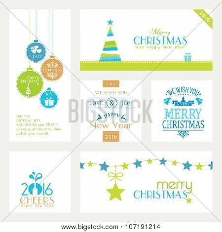 Flat, modern Christmas and Happy New Year banners isolated on white with baubles, Christmas trees and sayings for the festive Christmas and New Years season to come.