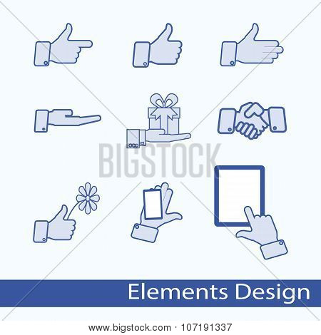 Hand gesture icons vector