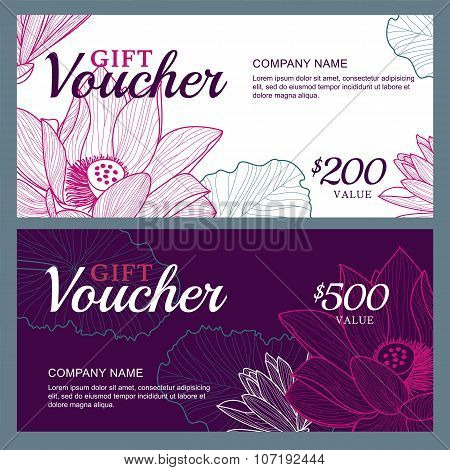 Vector Gift Voucher Template With Lotus, Lily Flowers.