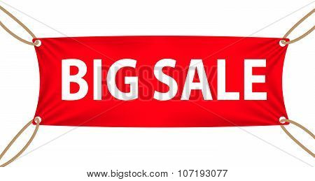 Textile banners with Big Sale Text Suspended by Ropes