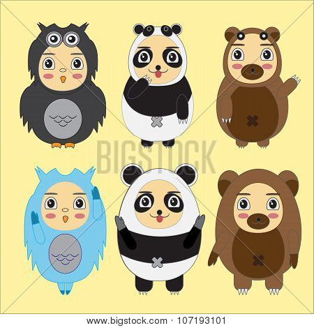 Vector Set Of Cartoon Kids In Animal Costumes. Cartoon Icons Collections Of Bear, Panda,owl