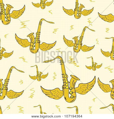 Winged brown saxophones