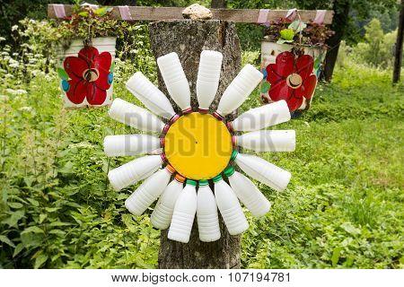 Camomile Flower Made Of Empty Milk Bottles.