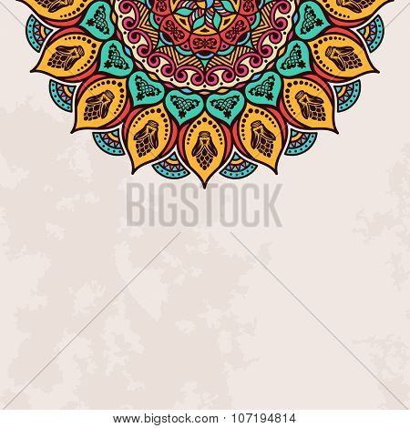 Elegant background with lace ornament and place for text. Floral elements, ornate background, mandala. raster illustration