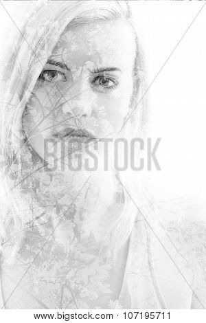 Young Girl With Leaves In Black And White, Double Exposure
