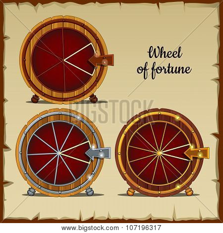Archaic wheel of fortune with sector, beige background