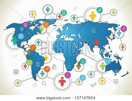 Social Network. Various shapes sparkling Pictograms set. Flat design concept with World Map