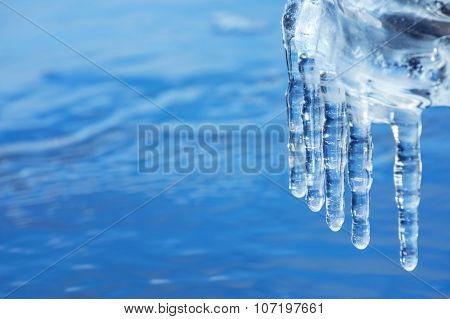 Icicles on the water