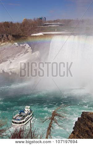 Very Beautiful Background Of The Niagara Falls, Rainbow And A Ship
