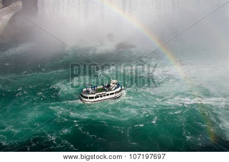 Fantastic Background With The Ship, Rainbow And Niagara Falls