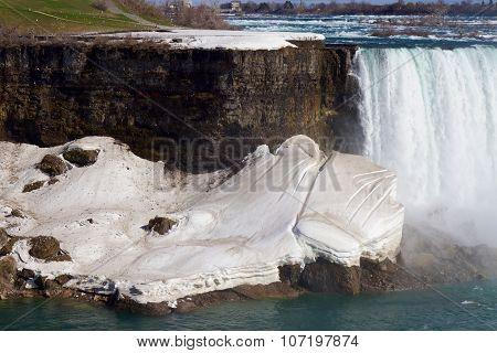 Beautiful Snow On The Rocks Near The Niagara Falls
