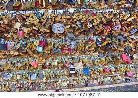 Paris Love Locks On Bridge