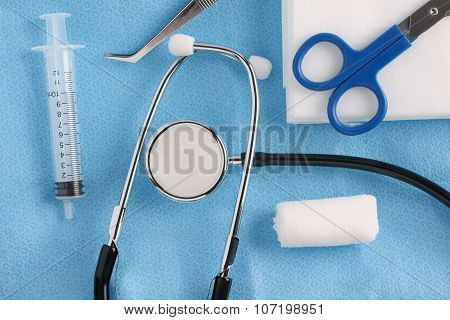 Medical Items And Stethoscope