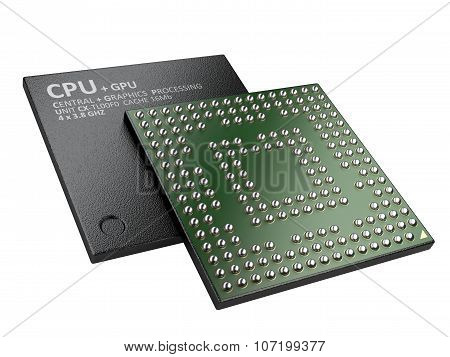 3D Illustration Of Cpu Chip Central Processor Unit