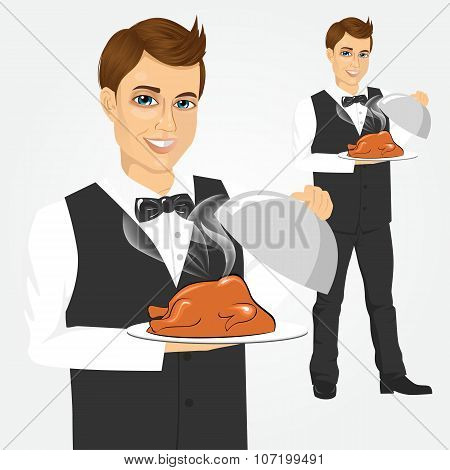 waiter with tray serving roasted poultry