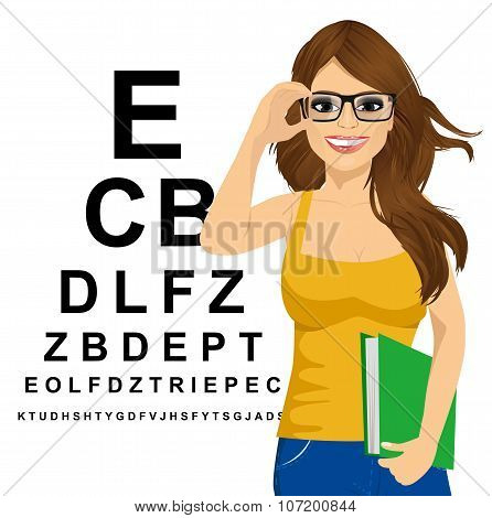 woman with glasses reading sight test characters