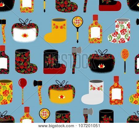 Russia Seamless Pattern. Russian National Objects: Boots And Wooden Spoon. Vodka And An Axe. Ushanka