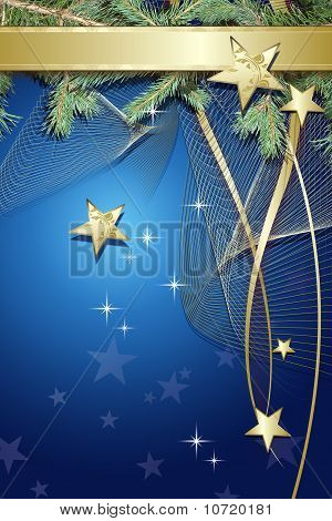 Blue Christmas Background With  Decorations