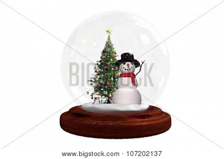 Snowman and christmas tree in snow globe on white background