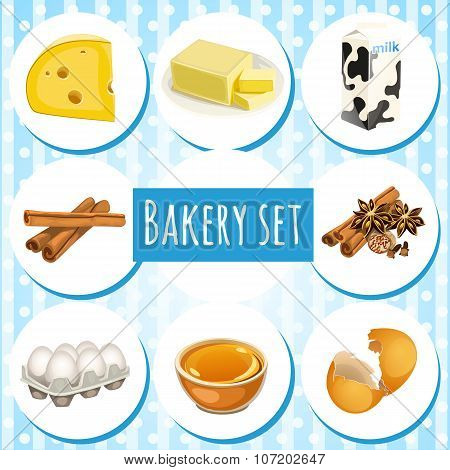 Bakery set, butter, eggs and other ingredients