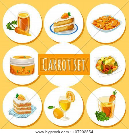 Carrot set, eight icons of dishes and drinks