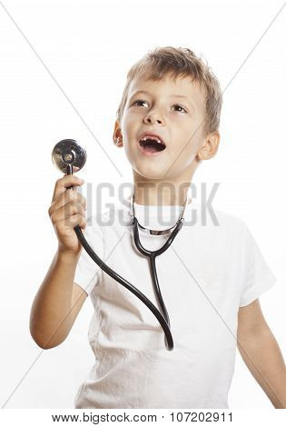 little cute boy with stethoscope playing like adult profession doctor close up isolated on white