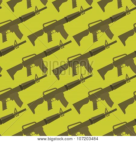 Automatic Gun Seamless Pattern. Military Background. Weapons Ornament. Many Army M16 Rifle.