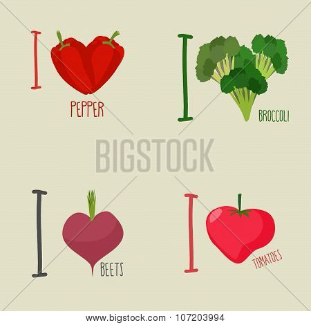 I Love Vegetables: Broccoli And Beetroot. Symbol Heart Of Peppers And Tomatoes. Set Vegetarian Emble