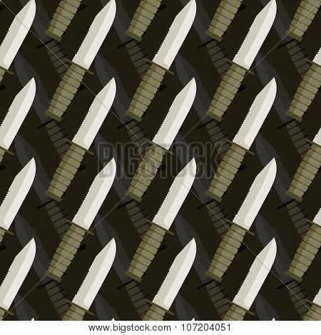 Military Dagger Seamless Pattern. 3D Background Of Knives. Army Ornament.