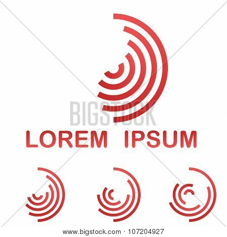 Red telecommunication symbol design template icon set