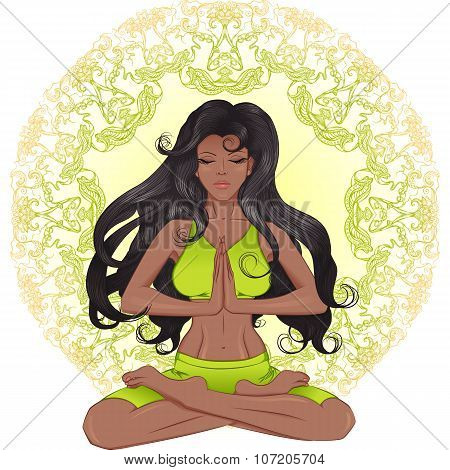 The African American Girl With Long Hair Sitting In The Lotus Po