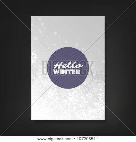 Hello Winter - Flyer, Card or Cover Design with Sparkling Patter Background - Party, Corporate Identity, Christmas, New Year or Ad Design Template