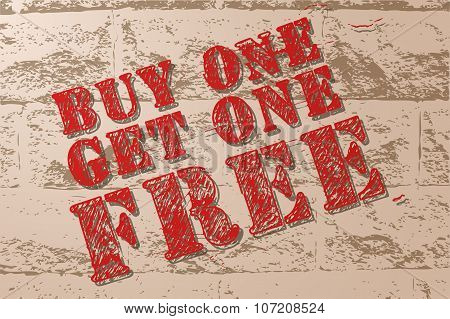 Handmade Vector Vintage Sale Sign Banner On Grunge Brick Wall.