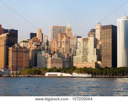 Battery Park and the lower Manhattan Skyline in New York City