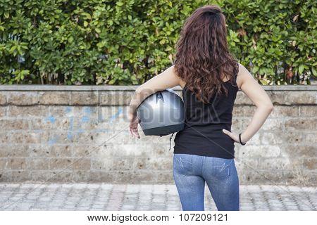 Helmet And Woman