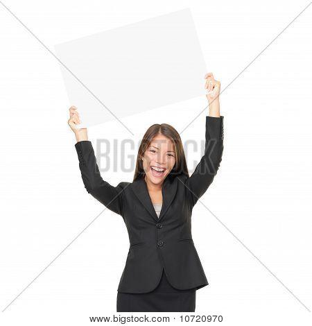 Espacio de copia de mujer de negocios