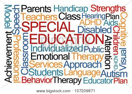 Special Education Word Cloud on White Background