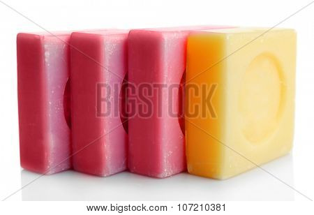 Bars of soap, isolated on white, individuality concept
